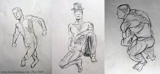 Drawings of three figures