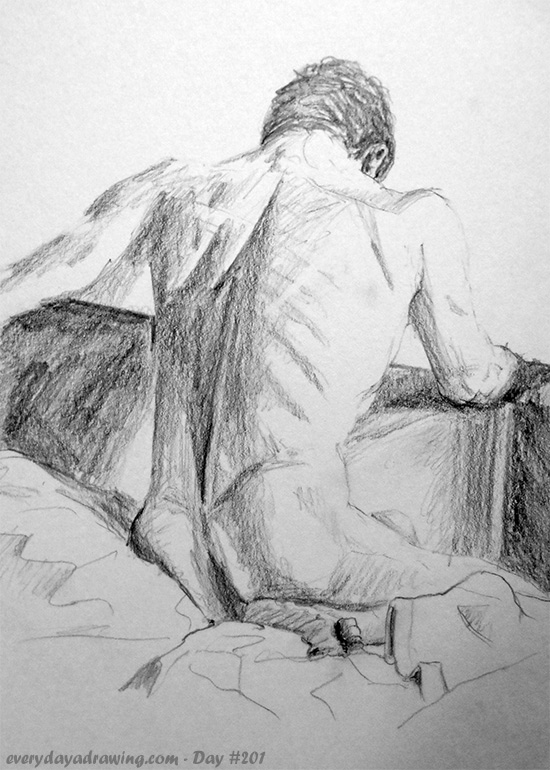 Drawing of male nude back view