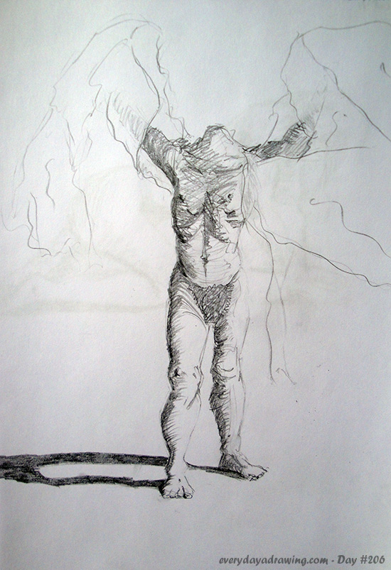 Drawing of a figure with a sheet