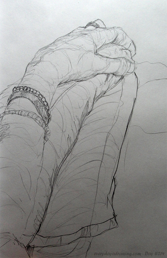 Drawing of a hand on knee