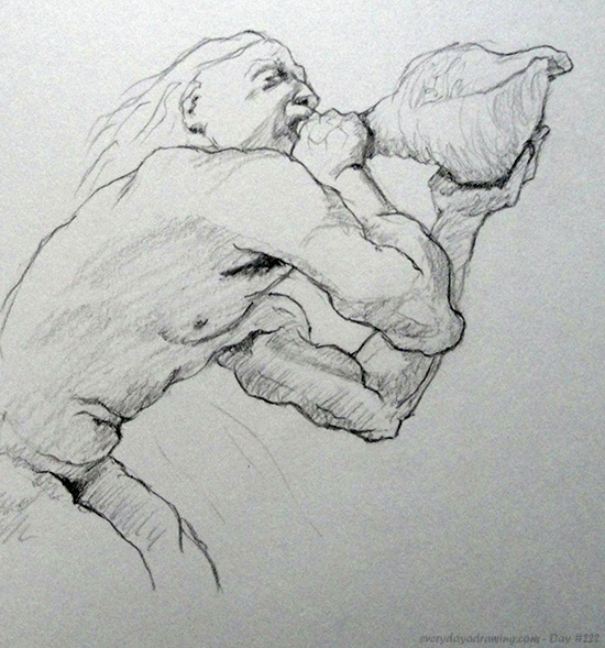 A copy of the drawing Triton by artist Jon Demartin