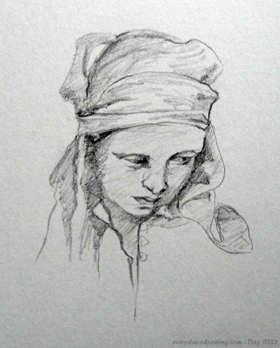 Copy of the Alphonse Mucha drawing 'Portrait of a Girl'