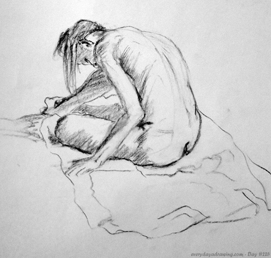Drawing of Female Nude on Towel