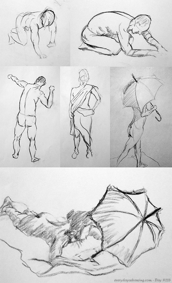 My shorter 'warm up' drawings from session #4 of the life drawing class
