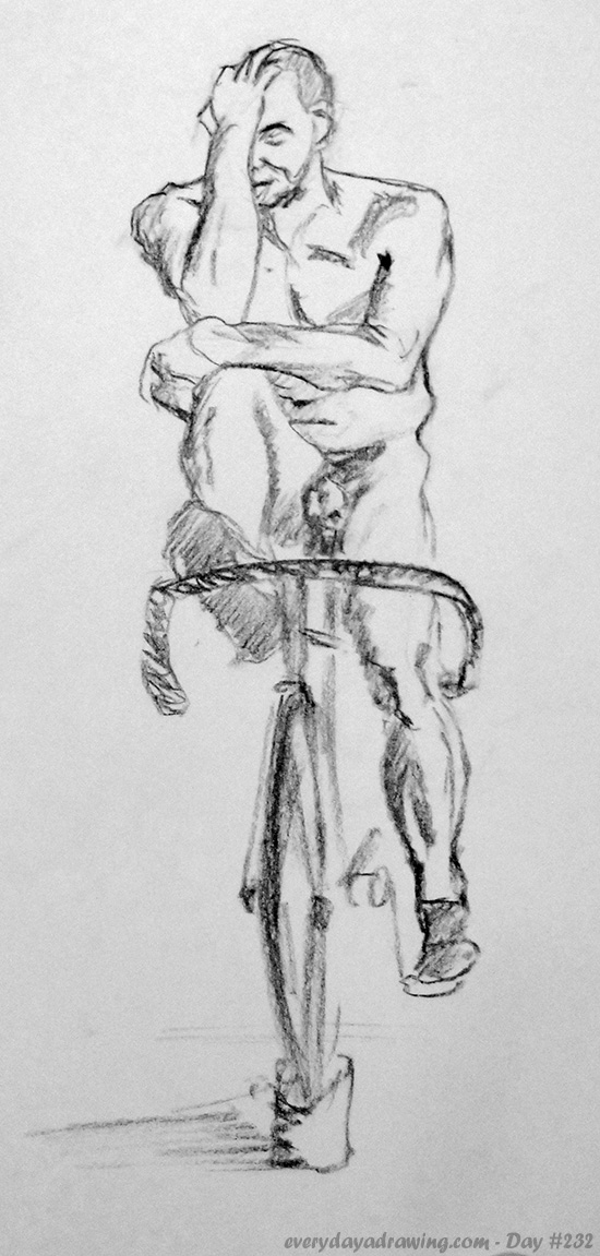 Drawing of man on life model on bycycle