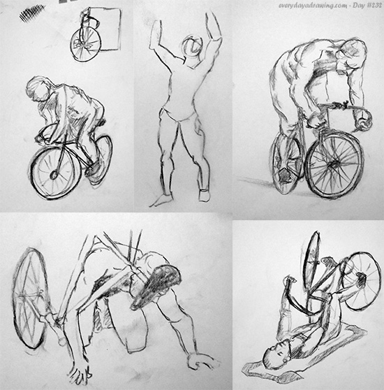 Collection of drawings of a life model and his bycycle