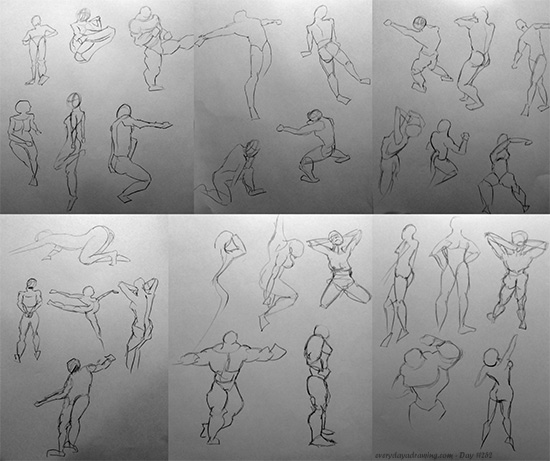 Collection of gesture drawings