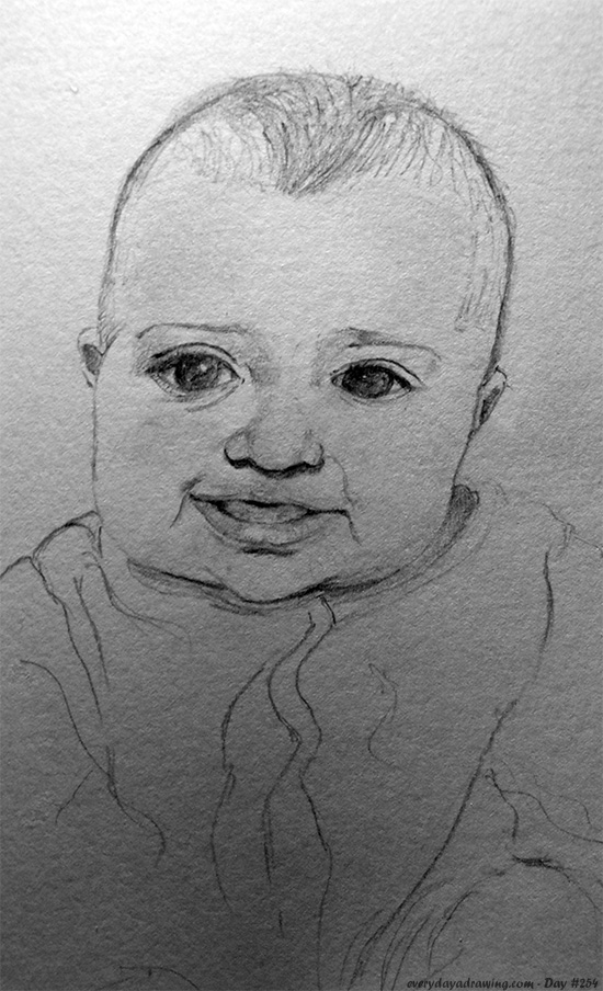 Drawing of Maia on her 5 month birthday