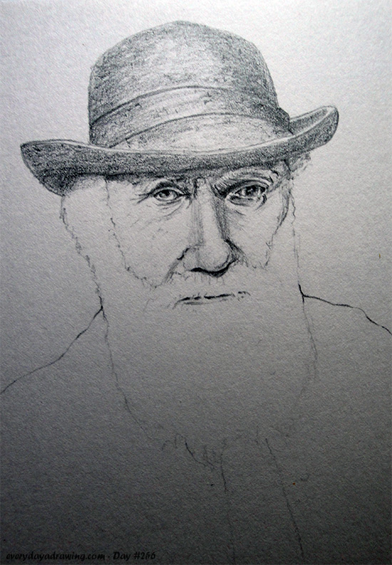 Drawing of Charles Darwin