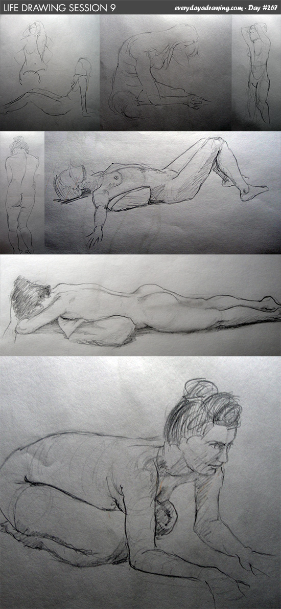 Life drawing of female nude