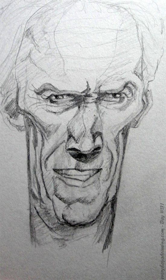 Drawing of Clint Eastwood Caricature
