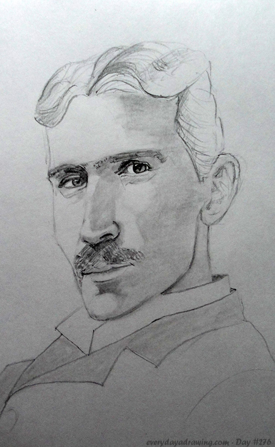 Drawing of Nikola Tesla