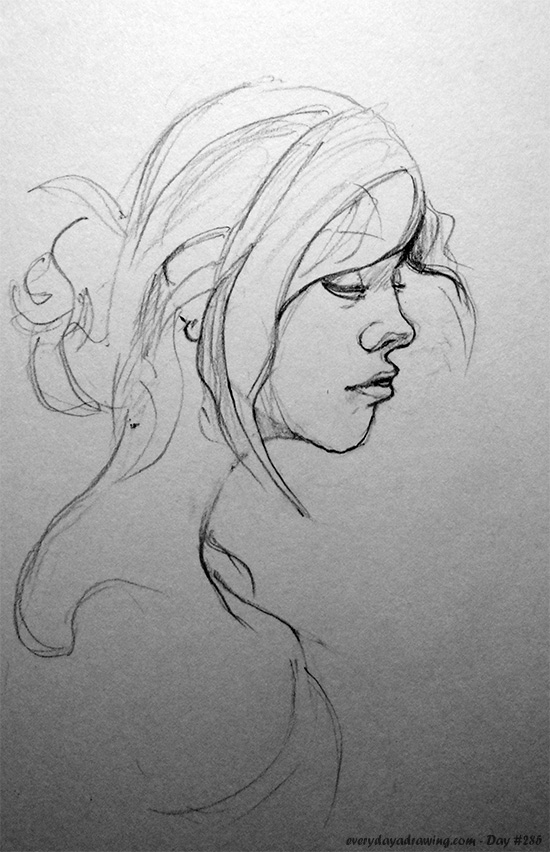 Profile drawing of a beautiful woman