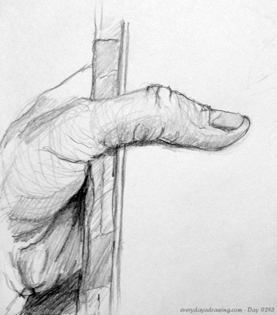 Drawing of hand holding paper