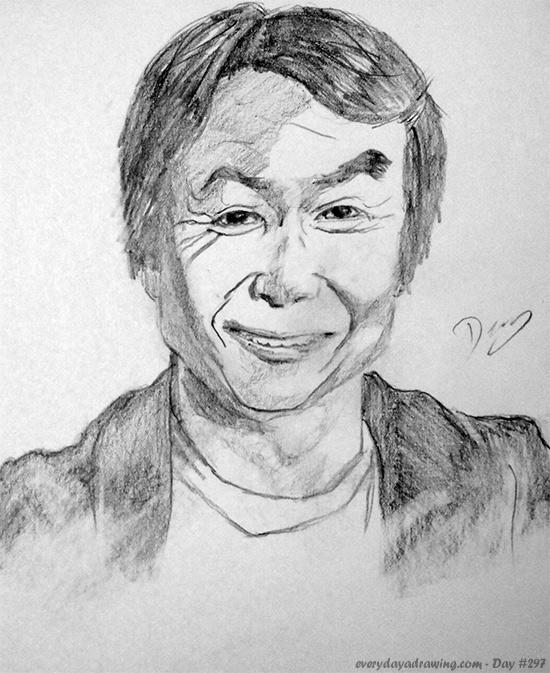 Drawing of Shigeru Miyamoto