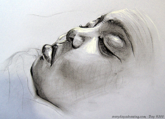 Charcoal Drawing of Maia Asleep