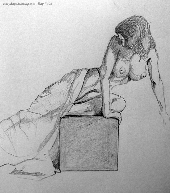 Drawing of a lady on a box