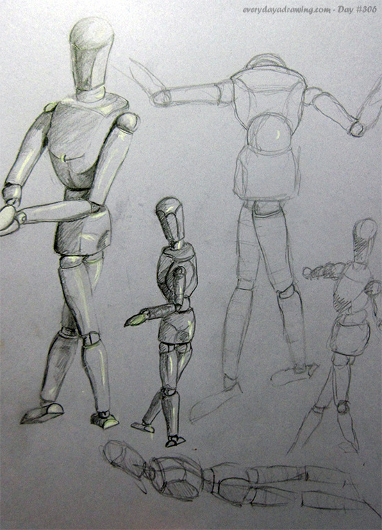More drawings of mannequins