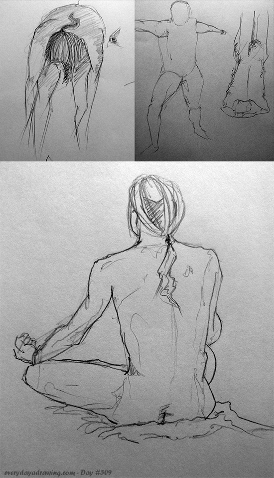 Warm up life drawing sketches