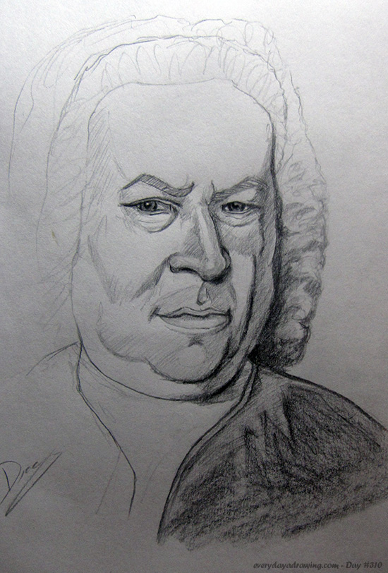 Drawing of Johann Sebastian Bach