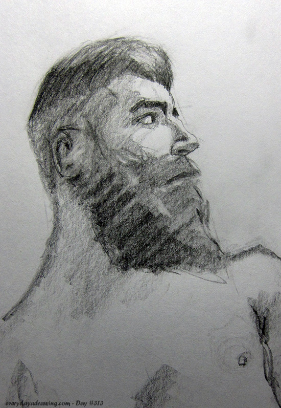Drawing of a man with a big beard