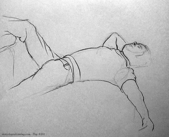 Drawing of man laying back in jeans