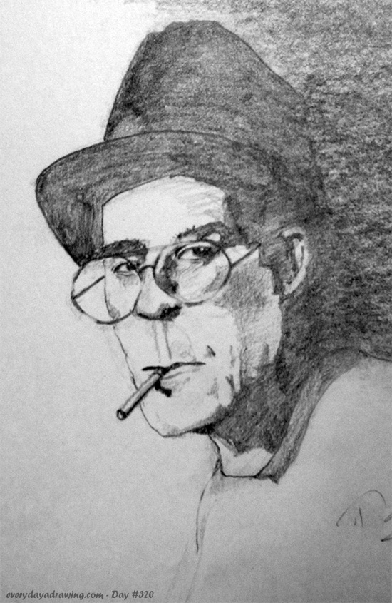 Drawing of Hunter S. Thompson