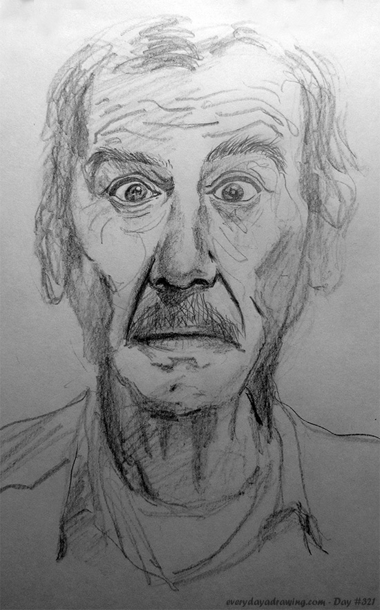 Drawing of an old man with a mustache