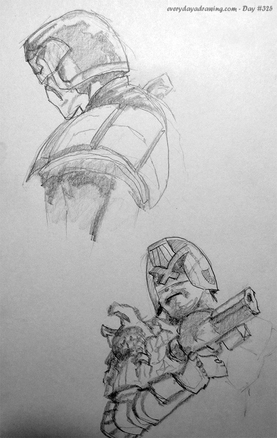 Drawings of Judge Dredd
