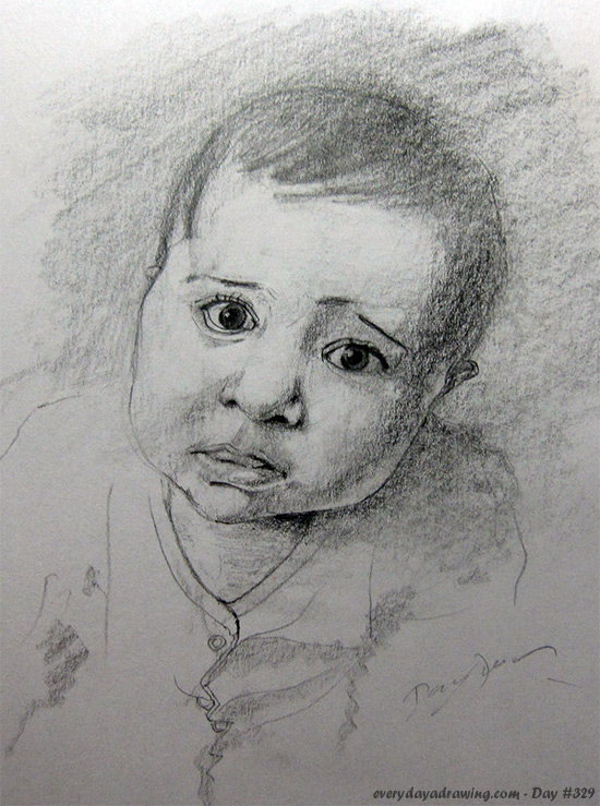 Drawing of Maia at seven months of age