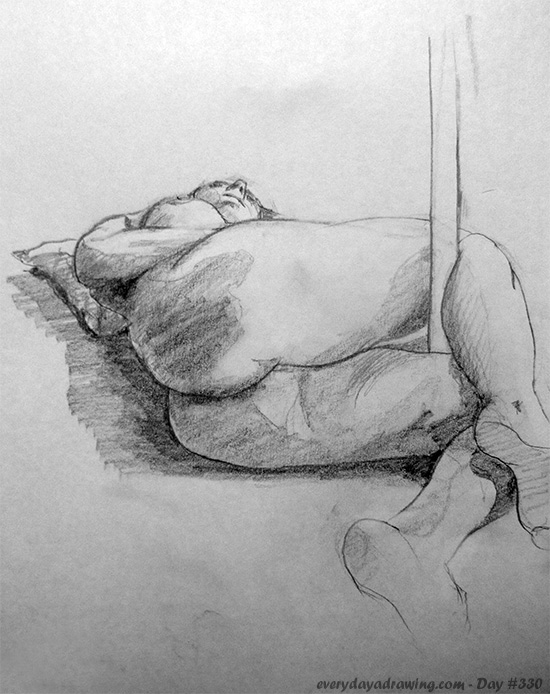 Drawing of a pole dancer