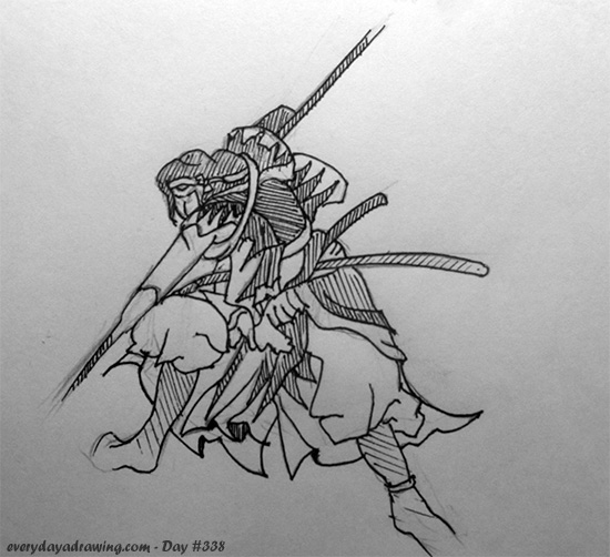 Drawing of a Samurai