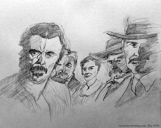 Drawing of cast of deadwood