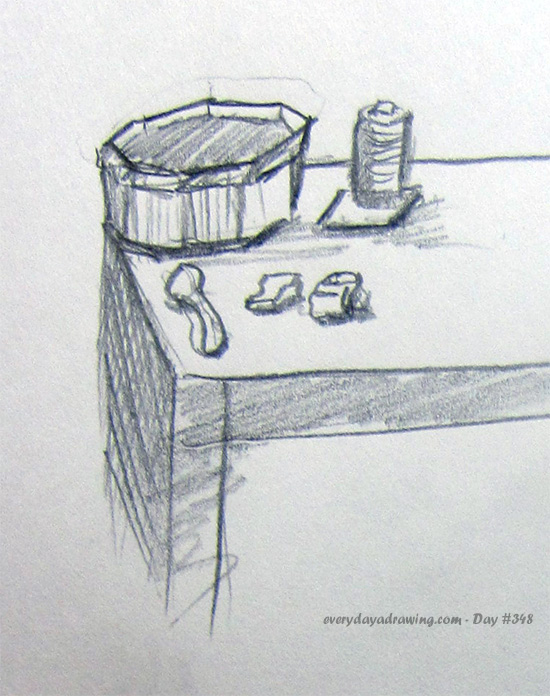 Drawing of objects on table
