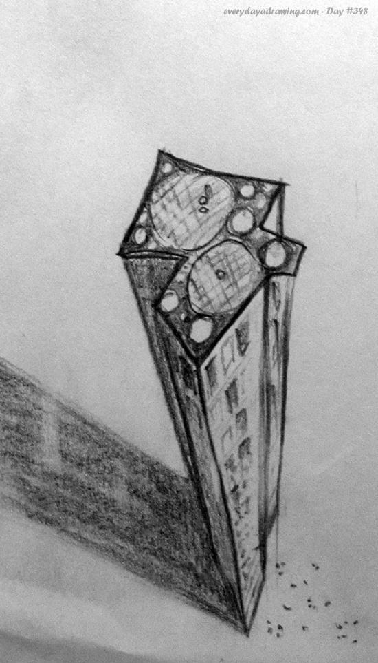 Drawing of a skyscraper from imagination