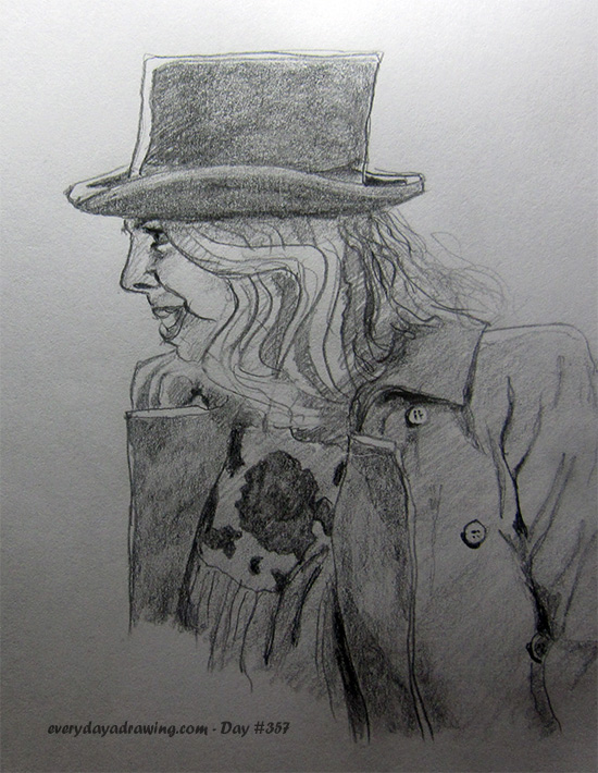 Drawing of a girl in a top hat