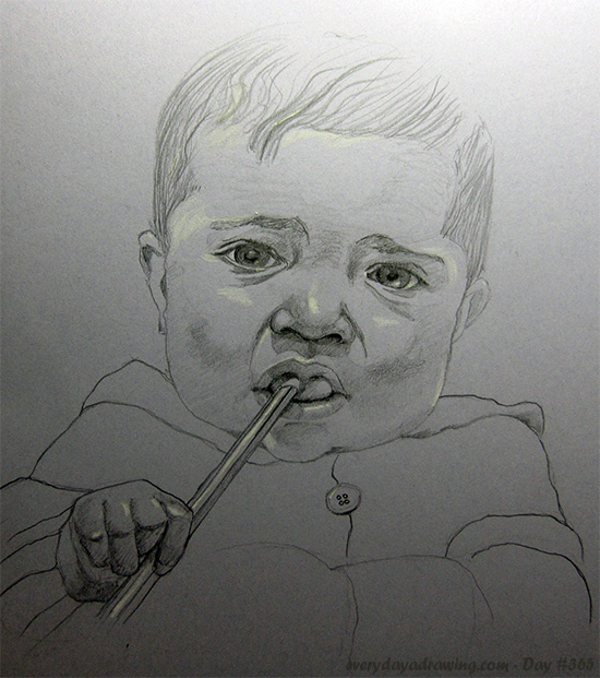 Drawing of Maia holding a pencil